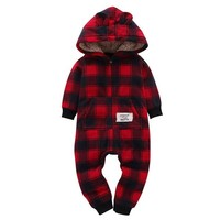 Red Plaid Hooded Romper