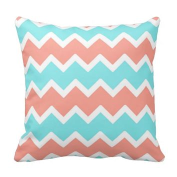 Aqua Blue Coral Chevron Throw Pillow