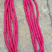 Vintage Vibrant Hot Pink Wood Bead Multi-strand Necklace - Boho Retro Chic / Summer / Spring / Beach / Colorful / Gift / Party