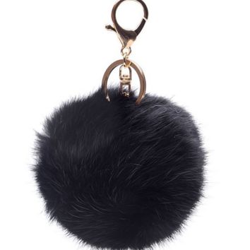 Small Fur Black Pom Pom Key Chain