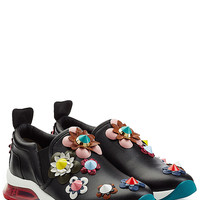 Fendi - Leather Sneakers with Floral Applique