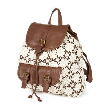 Brown Faux Leather Backpack with Ivory Floral Crochet Overlay