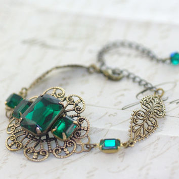 Emerald jewel bracelet Victorian brass filigree art edwardian vintage style crystal glamour gem