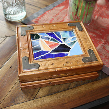 Upcycled Wooden Jewelry Box, Sailboat Mosaic Wooden Trinket Box, Nautical Stained Glass Box