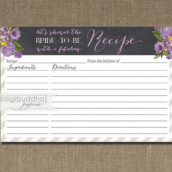 Chalkboard Lilac Recipe Card INSTANT DOWNLOAD Roses Purple Flowers Bride Bridal Shower 4x6 DIY Printable or Printed Fill-In Recipe - Leah