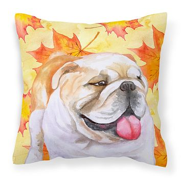 English Bulldog Fall Fabric Decorative Pillow BB9900PW1818