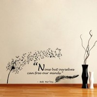 Housewares Vinyl Decal Quote Bob Marley Dandelion Feather Musical Note Home Wall Art Decor Removable Stylish Sticker Mural Unique Design for Any Room