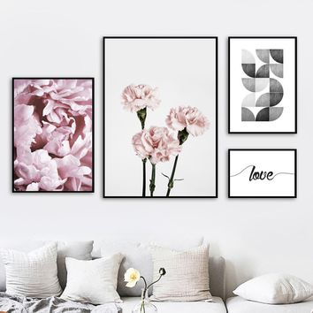 Flowers Carnation Rose Love Quotes Wall Art Canvas Painting Nordic Posters And Prints Wall Pictures Kids Room Girl Bedroom Decor