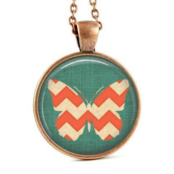 Butterfly Necklace: Chevron Jewelry. Salmon. Green. Butterfly Art. Pendant. Charms. Copper Jewelry. Handmade Jewelry. Lizabettas