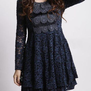 OASAP - Openwork Lace Detail Round Neck Full Skirt Dress - Street Fashion Store