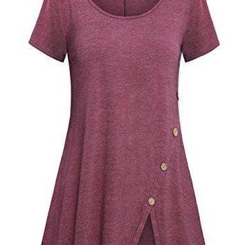 Faddare Womens Casual Comfy Short Sleeve Split Blouse Tunic Shirt with Buttons