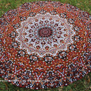 Roundie / Round- Beach, Yoga, Dorm, College- Tapestry Mandala Bohemian Boho- Includes Elephant and red, black, white