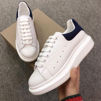 Alexander Mcqueen's world-class classic leather casual shoes watermelon deep blue