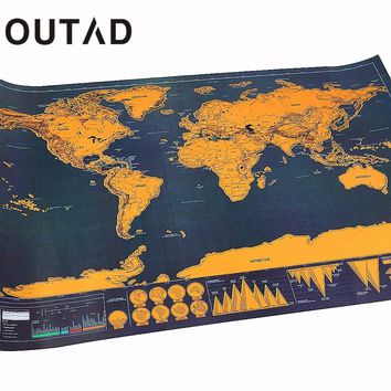 OUTAD Portable Travel Scratch off Maps Poster Traveler Vacation Log Gift Personalized Foil Layer Coating World Map Drop Shipping