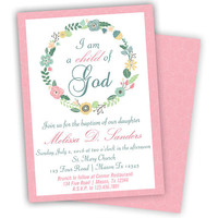 Girl Baptism Invitation - Pink Baptism Invitations Girl - Child of God - LDS Religious - Floral Spring Flowers - Laurel Pastel