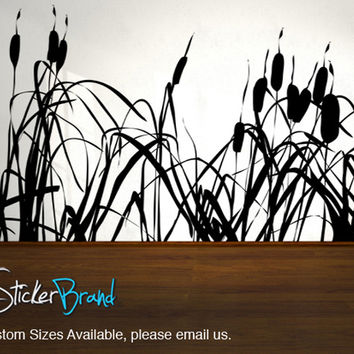Vinyl Wall Decal Sticker Cattails Bush Plant #AC140