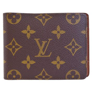 Authentic LOUIS VUITTON Logos Bifold Wallet Purse Monogram Leather Brown 02EF821