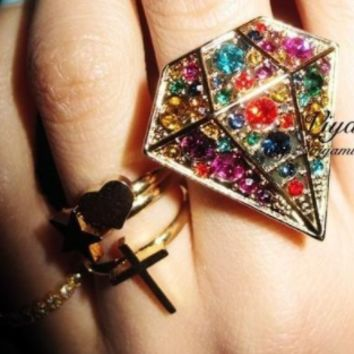 Fashion hit color diamond gem ring