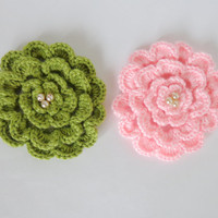 Crochet Flower Pin Or  Brooch Or Hair Clip 4 layers 1pcs