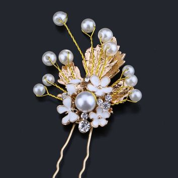 3Pcs Traditional Metal Gold Pearl Bridal Hair Pin Clip Classic Chinese Hairpins Women Leaves Hair Pin Wedding Head Piece SL