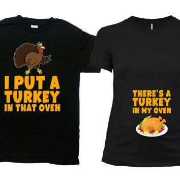 Thanksgiving Pregnancy Announcement Expecting Parents To Be Couples T Shirt His And Her Shirts Pregnant Mom Gifts Expectant Dad - SA506-507