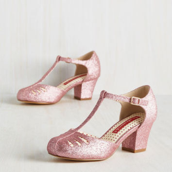 Shimmer Down Now Heel in Rose Glitter