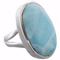 Arvino 925 Sterling Silver Ring with Larimar Gemstone