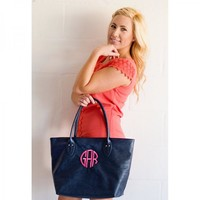 Monogrammed Navy Blue Tote Purse at The Pink Monogram