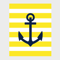 Nautical Navy Anchor Yellow Stripes Print Nursery Decor Baby Print CUSTOMIZE YOUR COLORS 8x10 Prints Nursery Decor Art Baby Room Decor Kids