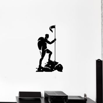Wall Decal Climbing Mountain Tourism Travel Nature Man Silhouette Vinyl Sticker (ed1152)