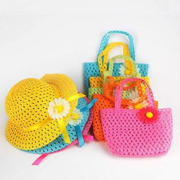 PEAP78W Girls Kids Beach Hats Bags Flower Straw Cap Tote Handbag Bag Suit Children Summer Sun Hat