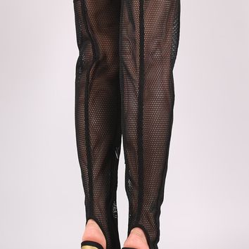 Wild Diva Lounge Netted Mesh Stiletto Over-The-Knee Boots
