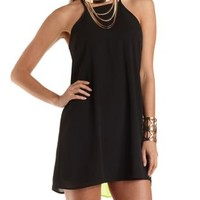 Color Block Trapeze Halter Dress by Charlotte Russe - Black Combo