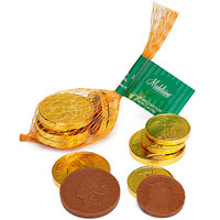 Gold Foiled Milk Chocolate Coins 1-Ounce Mesh Bags: 24-Piece Box