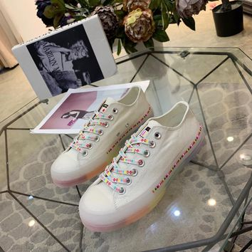 Kuyou Gx19712 Converse All Star Color Tag Jelly Rainbow Bottom White Canvas Sneakers