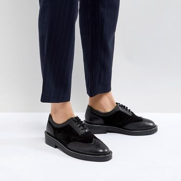 ASOS MUNICH Premium Leather Flat Shoes at asos.com