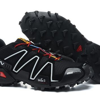 Salomon Men's Spikecross 3 CS Trail Running Shoe-Black White Red