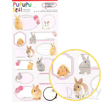 Bunny Rabbit Glossy Photo Label Index Stickers Seals | Cute Animal Inspired Scrapbook Decorating Supplies