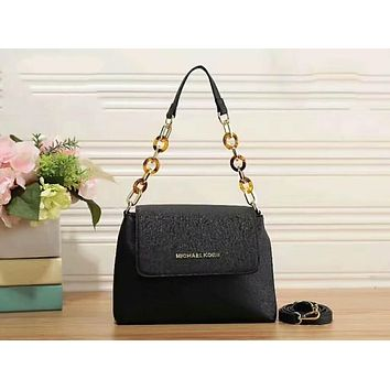 MK Fashion Contrast Color Women Shopping Bag Leather Satchel Crossbody Handbag Shoulder Bag Black I-LLBPFSH