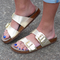 Madden Girl: Brando Slide On Sandals {Gold}