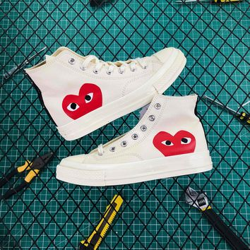 Cdg Play X Converse Chuck Taylor 1970s High White - Best Online Sale