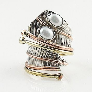 Pearl Three Tone Sterling Silver Adjustable Leaf Wrap Ring