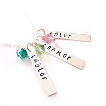 Personalized Three Names Hand Stamped Bar Swarovski Birthstone Necklace / Mothers Day Necklace / Gift for Mom