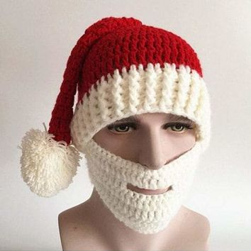 Knitted Winter Hat With Beard Christmas Santa Beanie