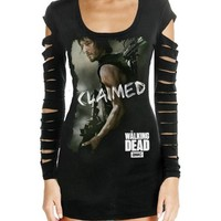 Walking Dead Daryl Claimed Laser Cut Juniors Black T-Shirt (XX-Large)