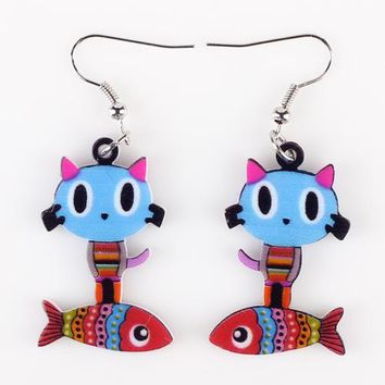 Drop Cat Fish  Earrings Acrylic Pattern Long Danlge Earrings Cute Animal New Fashion Jewelry For Women  Accessories