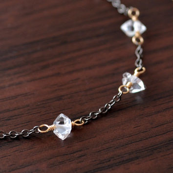 NEW Dainty Herkimer Diamond Bracelet, Gold and Black Gunmetal, Mixed Metals, Clear Quartz Nugget, Gemstone Jewelry