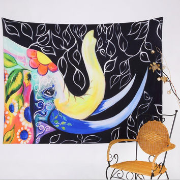 Wall Hanging Elephant Indian Mandala Tapestry Black Bedspread Dorm Cover Home Room Floor Decor Rug Yoga Mat 150X130cm