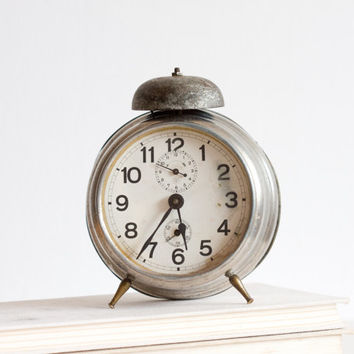 Alarm Clock, Antique German Desk Clock, Retro Clock, Gray Neutral, 1930s 30s Decor, Home Decor, Silver, Wedding Gift