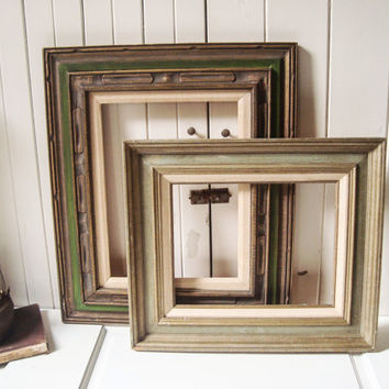 vintage pair of rustic wooden picture frames green large open frames rustic farmhouse frames